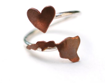 Hawaii State Twist Ring (Sterling Silver & Copper Place State Love Map Ring)