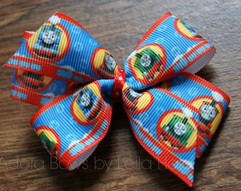 Made to order girls kids Thomas the tank engine Thomas and friends boutique pinwheel hair bow clip hair clip alligator clip