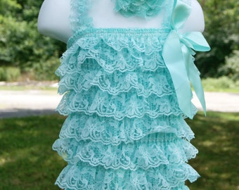 12-24 mos baby infant aqua blue outfit lace petti romper with headband photography prop birthday outfit lace body suit