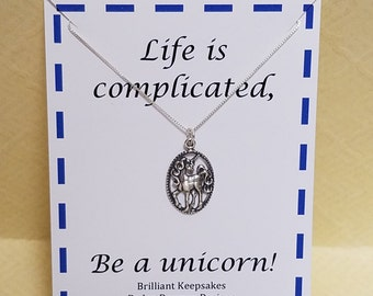 Life is complicated Be a unicorn Sterling Silver Pendant Necklace