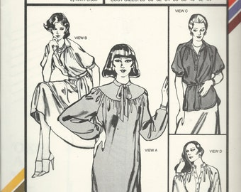 Uncut Vintage Sewing Pattern #1592 - Stretch & Sew CHEMISE, GATHERED DRESS and Blouse  Ann Person 1979 - Sizes: 28 - 44 - Four Variations