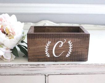 Wedding Card Box, Wooden Card Box, Rustic Wedding Decor B-1 (Personalized Monogram)