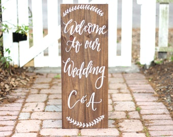Welcome to Our Wedding Sign, Rustic Wedding Sign, Personalized Wedding Sign, The Paper Walrus