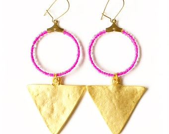 SALE - Beaded Gold Triangle Dangle Drop Earrings //Gifts for her //boho