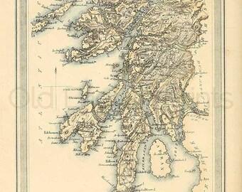 Argyle Shire c.1857 - Antique Scottish County Map of Argyle - 8 x 11 ins PRINT - FREE P&P UK