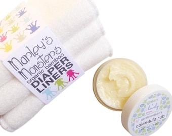 Cloth Diaper Mama Duo. Gentle Bottom's Calendula Rub {Cloth Safe Bum Cream} & Organic Bamboo Diaper Inserts. Organic. Baby Shower Gift Set.
