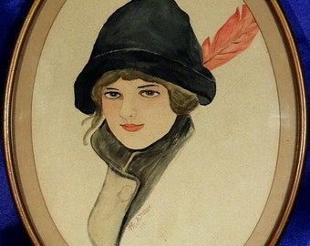 Exquisite ca.1911 Romantic Young Lady w/Hat & Feather Portrait Watercolor/Frame Signed