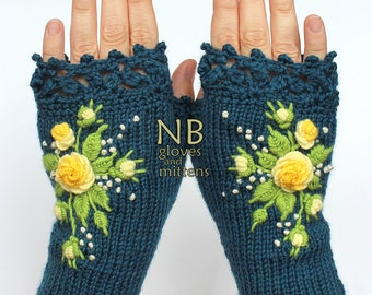 Knitted Fingerless Gloves, Turquoise, Yellow, Roses, Gloves & Mittens, Gift Ideas, For Her, Winter Accessories
