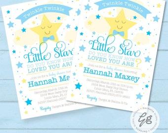 Twinkle Twinkle Little Star Baby Shower Invitation, invite, Printable,  Baby Shower Invite, Its a Boy, Baby Shower Invite, Baby Boy, Star