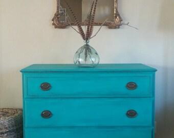 SOLD**********Vintage Turquoise/Aquamarine Dresser-Rustic Cottage Chic Dresser-Vintage Irwin Dresser