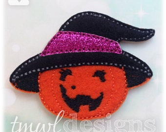 """Pumpkin Witch Feltie Digital Design File - 1.75"""""""