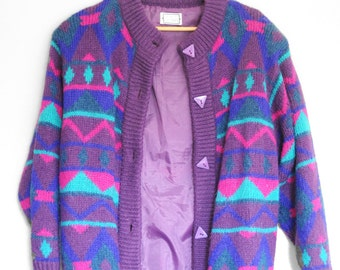 Purple Vintage 80's Colourful Patterned Grandpa Cardigan/Sweater