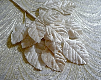 Velvet Millinery Leaves Spray of 18 Ivory Shaded for Weddings Hats Corsages Bridal Bouquets Hair Clips 7LN0001I
