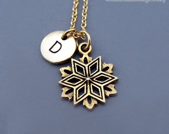 Snowflake necklace, Gold snowflake charm, gold snow flake charm necklace, initial necklace, personalized, monogram