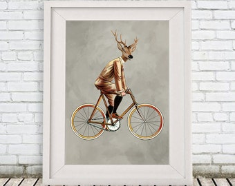Deer Print,  Antler, Stag, Deer Art, Deer Art Print, Deer Artwork, Circus Print,Deer on bicycle,  Deer Wall Hanging, Coco de Paris