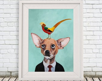 Chihuahua Poster, Chihuahua Illustration Art Poster Acrylic Painting Kids Decor Drawing Gift, Dog with bird