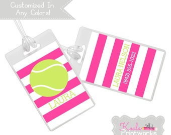 Personalized Tennis Bag Tag - Sports Team - Customized Colors - Team Colors - Luggage Tag - Backpack Tag