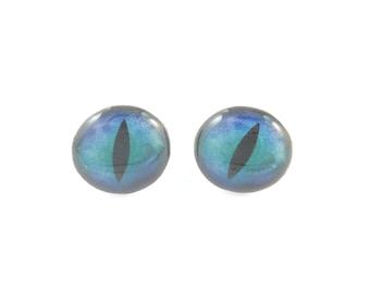 "SMALL Blue Dragon Eye Earrings.  Resin Post Eye Earrings. 1/2"" or 13 mm round."