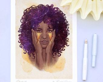 Original Fashion Illustration Print by Rachel Corcoran - Stardust - Portrait Poster - Wall Art - Cosmic Print - Make Up Print