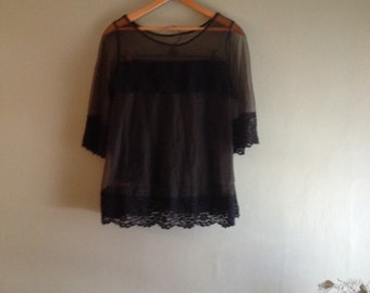 50s Two Piece sz Sm Sheer Black with Lace Detail Top & Shorts