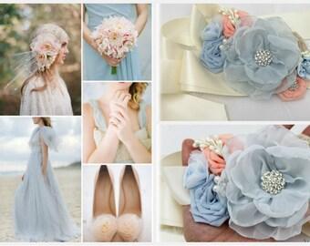 Wedding Sash Bridal Jeweled Flower Sash Custom Belt in Powder Dusty Blue Ivory Blush Rose Quartz with Brooches, Flowers Beach Wedding