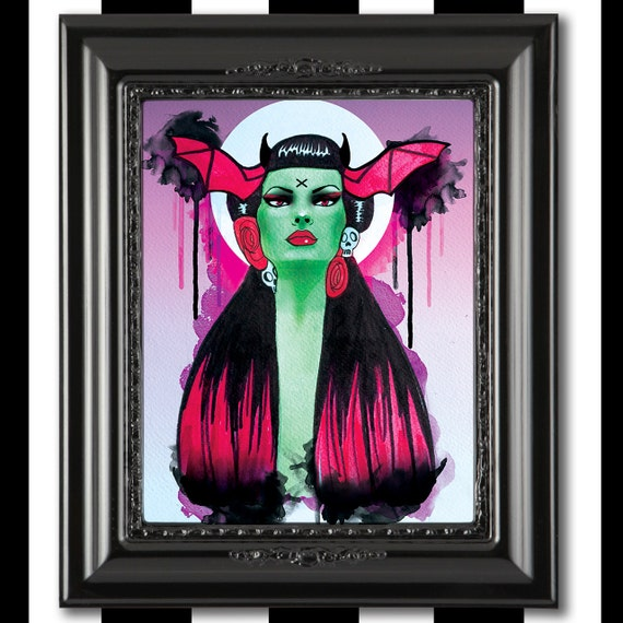 Mexican Bat Girl, dia de los muertos, gothic art, mexican art Giclee print
