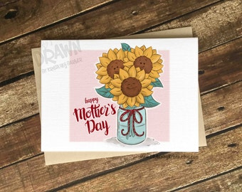 Happy Mother's Day Card, Sunflower, Greeting Card