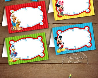 Mickey Mouse Clubhouse Food Tents - INSTANT DOWNLOAD - Printable Mickey Mouse Clubhouse Place Cards, Printable Mickey Mouse Birthday Party