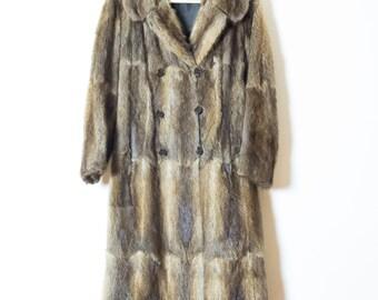 Beautiful 70s Long Fur Coat    Double Breasted Fur Coat   Vintage Fur Coat   Brown Fur Coat   1970s Fur