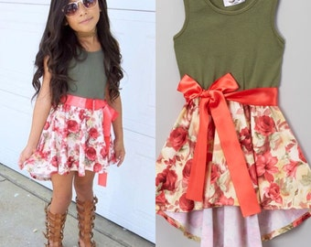 Dreaming Kids Olive & Salmon Floral Hi Low Dress