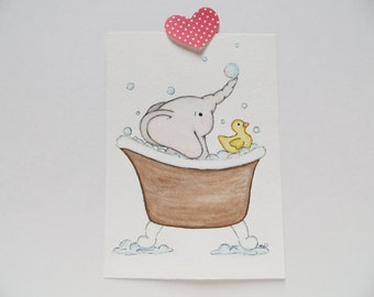 Bathtime Fun, elephant in tub, original painting, kids wall art, watercolor painting, nursery print, bathroom painting
