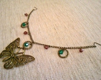 Vintagestyle Hair Chain Butterfly Hijab Headpiece Fascinator