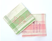Vintage Linen Kitchen Towels Pink Green Plaid Embroidered Tea Towels