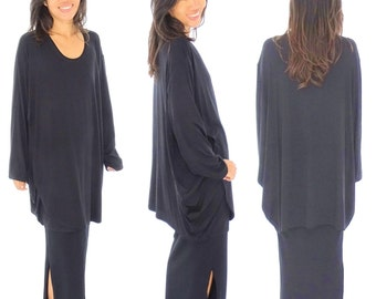 HP400SW tunic top layered look asymmetrical Jersey Gr. 38-54 black