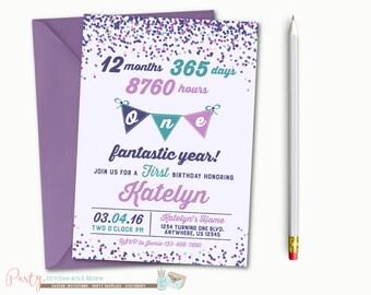 Confetti Birthday Invitation, Confetti Invitation, 1st Birthday Invitation, First Birthday Invitation, Birthday Invitation, Purple and Teal