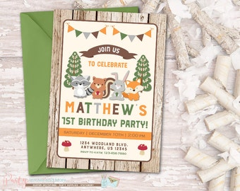Woodland Birthday Invitation Fox Birthday Invitation Fall