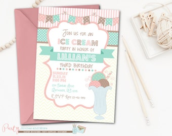 Ice Cream Invitation, Ice Cream Birthday Invitation, Ice Cream Party Invitation, Neopolitan Birthday Invitation