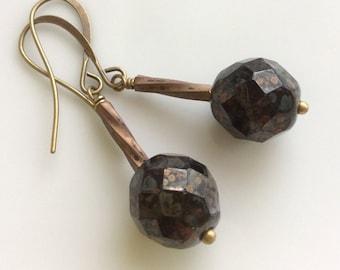 Black Glass Earrings  Bohemian Earrings  Czech Glass Earrings  Boho Earrings  Faceted Black Glass  Gypsy Dangles