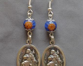 St Roch - 8mm Millefiori Glass Earrings