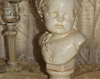 VINTAGE Shabby Chic CHERUB BUST Chalkware Statue Autumn