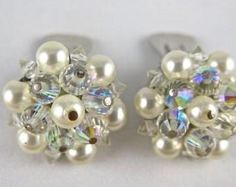 Vintage Laguna Pearl and Aurora Borealis Crystal Glass Earring Set, Wedding Gift
