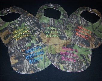 Daddy's Hunting Buddy Custom Embroidered Camo Baby Bib