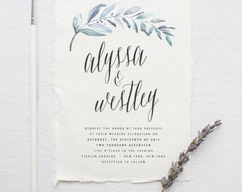 Organic Wedding Invitation Suite DEPOSIT, DIY, Rustic, Calligraphy, Bohemian, Deckled Edge, Custom, Watercolor, Foliage (Wedding Design #81)