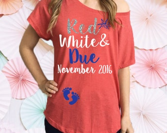 Red White and Due® Pregnancy Slouchy Tee Shirt. Off The Shoulder Pregnancy Shirt. 4th of July Pregnancy Tee Shirt. Pregnancy Announcement