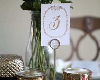 Delicate Gold and Pink Floral Table Numbers pefecte for Wedding, Rehearsal Dinner or Bridal, Baby Shower - Instant Download