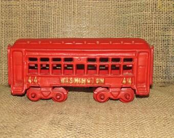 Vintage cast iron train, Washington 44 train, vintage train, train collector, red cast iron train, vintage trolley car, passenger train