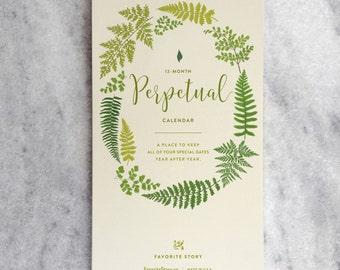 Perpetual Calendar, Birthday Calendar, Illustrated Ferns, Botanicals, Fern Fronds