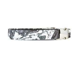 Marble Dog Collar - Gray and White Stone Metal Buckle Geometric Modern Boy Dog Collar