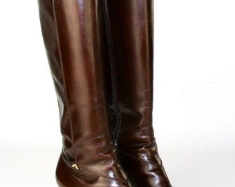 Vintage Salvatore Ferragamo Brown Genuine Leather Knee High Riding Boots - Wonderful Condition - Made in Italy - Women's Size 8.5 Medium