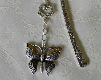 Beautiful Handmade Silvertone Bookmark with Ornate Two Tone Butterfly with Rhinestones.